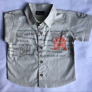 Safari shirt size 18 months beige animals boys EUC